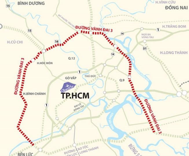 Bản đồ quy hoạch Dự án đường vành đai 3 TP HCM